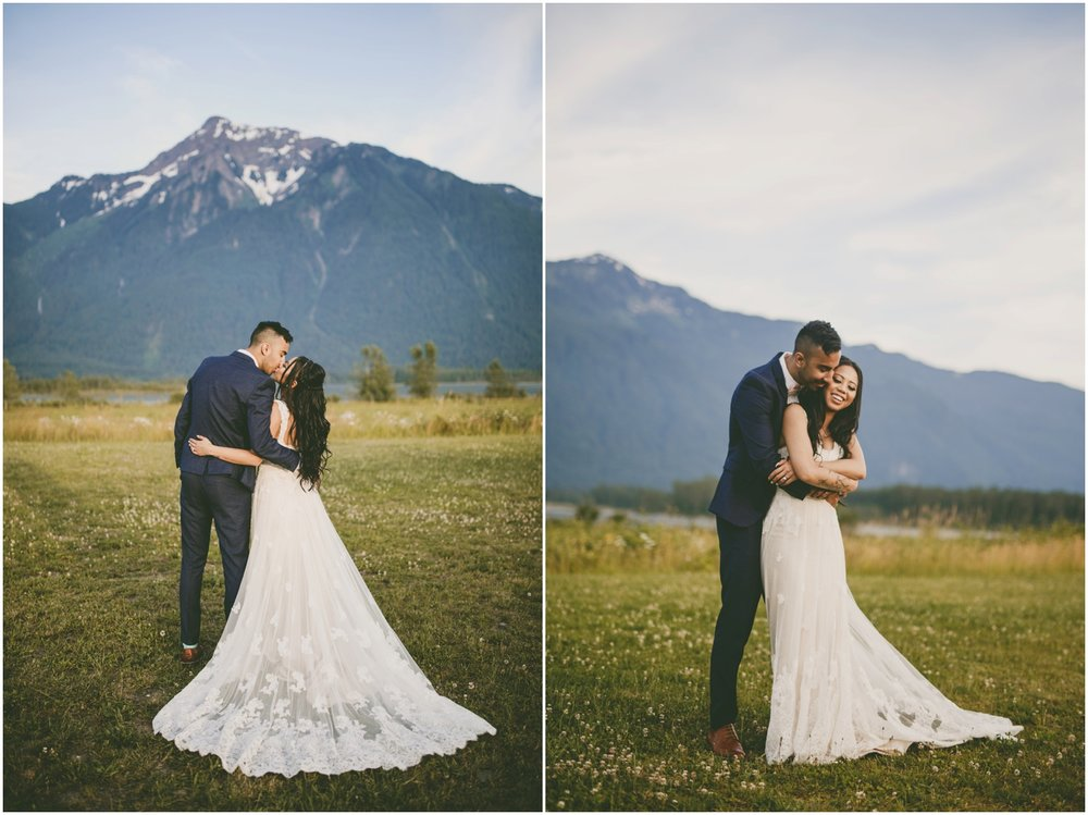 Mara and Taylor were married on one of the hottest days this summer at Fraser River Lodge. It was nearing 40 degrees celsius, and since I was pregnant, I walked around with a giant sun umbrella to try and shelter me while we worked. We learned that umbrellas are also useful for creating cool breezes to help relieve the bride of the stagnant warm weather, too! Despite the heat, these two and their guests celebrated with everything they had! Their day was filled with giddy smiles, inside jokes, and deep belly laughs. Despite all the challenges these two have faced, they are more in love and stronger than ever. I admire these two and their passion for life and one another.   Venue:  Fraser River Lodge   Rental Lights:  Valley Weddings   DJ:  In the Mix Productions   Dress:  Cocomelody   Suits:  Top Shop   Florals:  Holly Tree Florist   Hair: Artistry by RS  Make-up: Bliss Beauty by Sonam