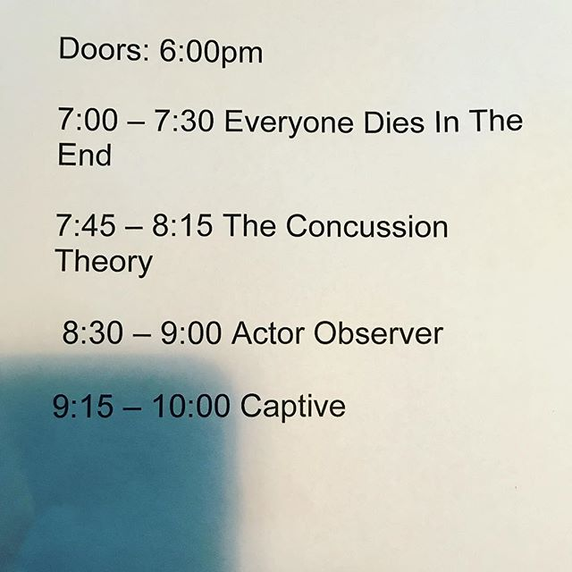 Stage times for tonight! Come hang! @canalclubrva @actorobserver @theconcussiontheory @everyonediesintheend