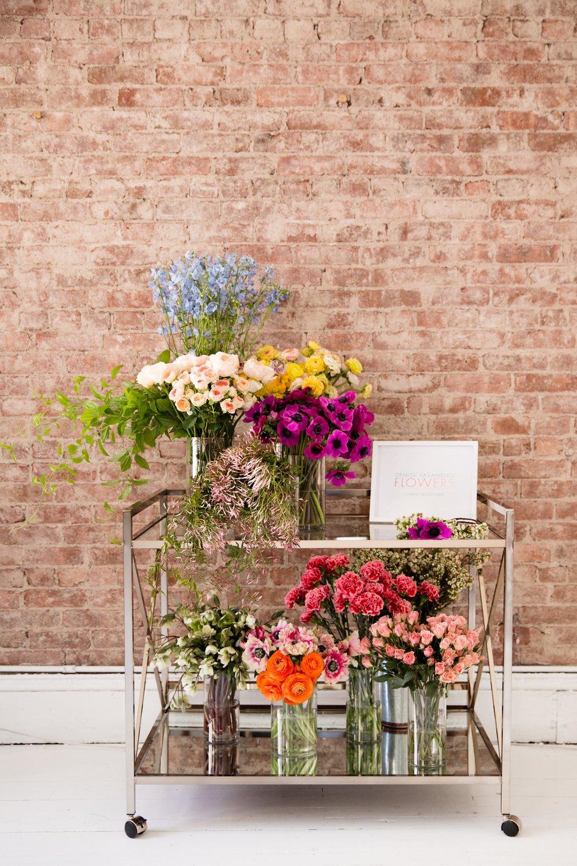 Flower Crown Cart Service by Denise Fasanello Flowers. Photo Credit: Jules Slutsky