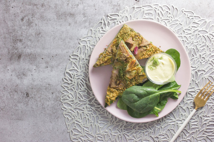 Persian Herb Frittata with Green Goddess Dressing (V, P)