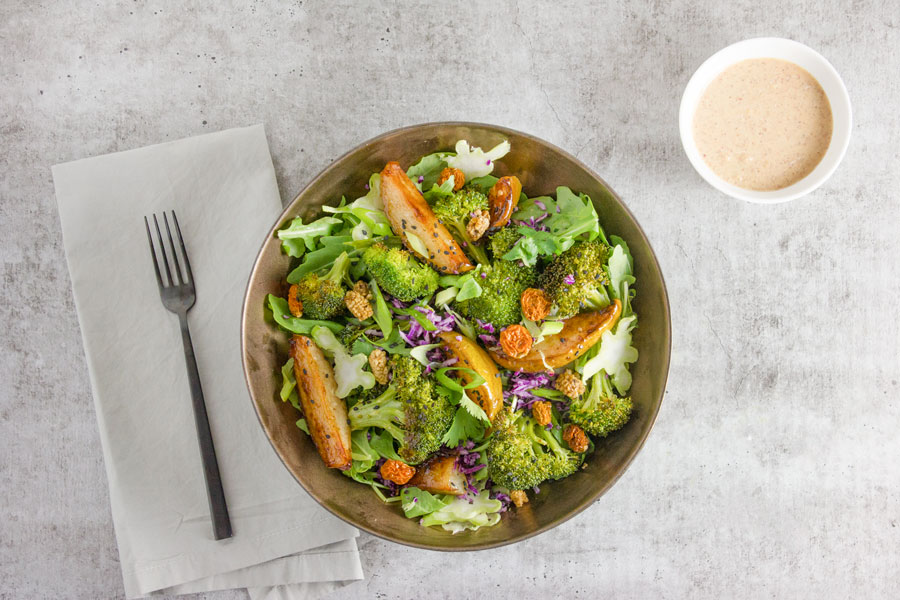 Lunch: Autumn Brussels and Kale Salad with Garlic Caesar Dressing