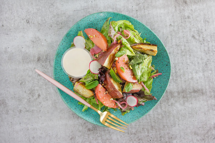 Japanese Sweet Potato and Quince Salad with Tahini and Dukkah (VG, P)