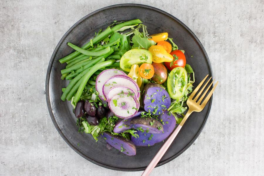Lunch: Rainbow Bowl with Dijon Thyme Vinaigrette