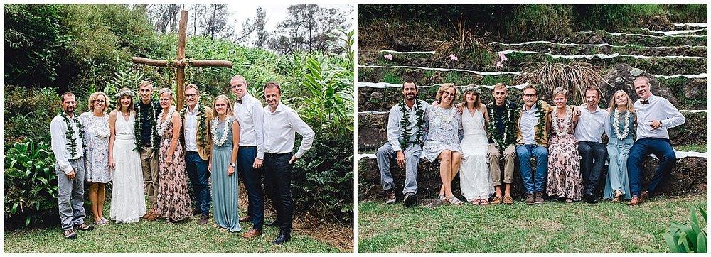 Formal family portraits at a Maui wedding