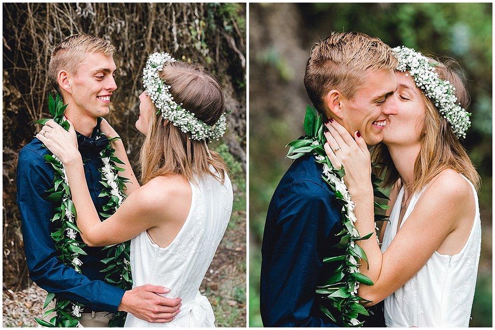 Maui Bride kissing Maui Groom