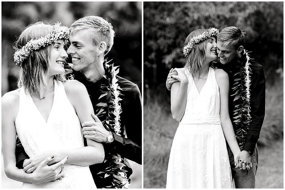 Maui bride and groom cuddling