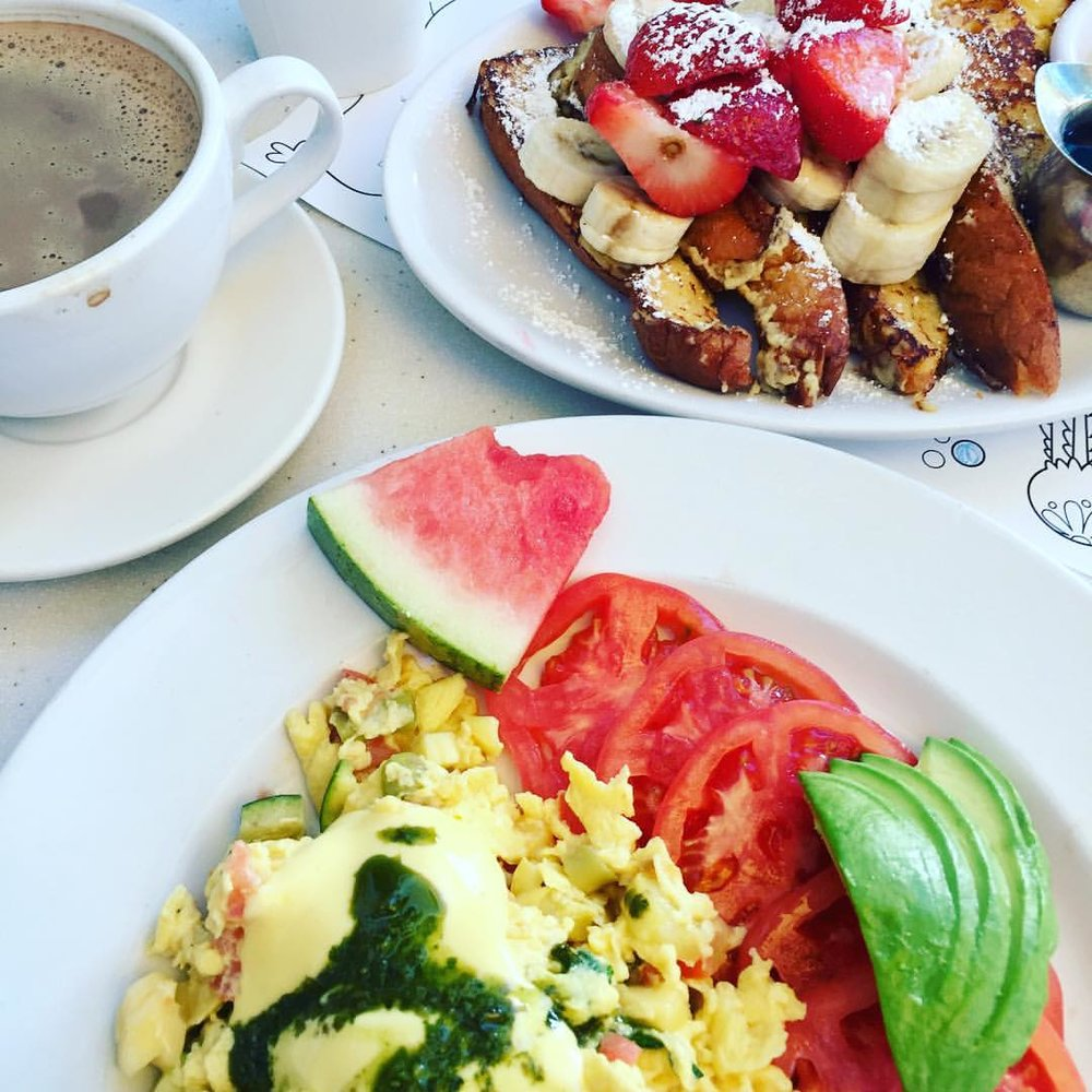 Roasted Vegetable Omelet and Classic French Toast from The Cottage La Jolla