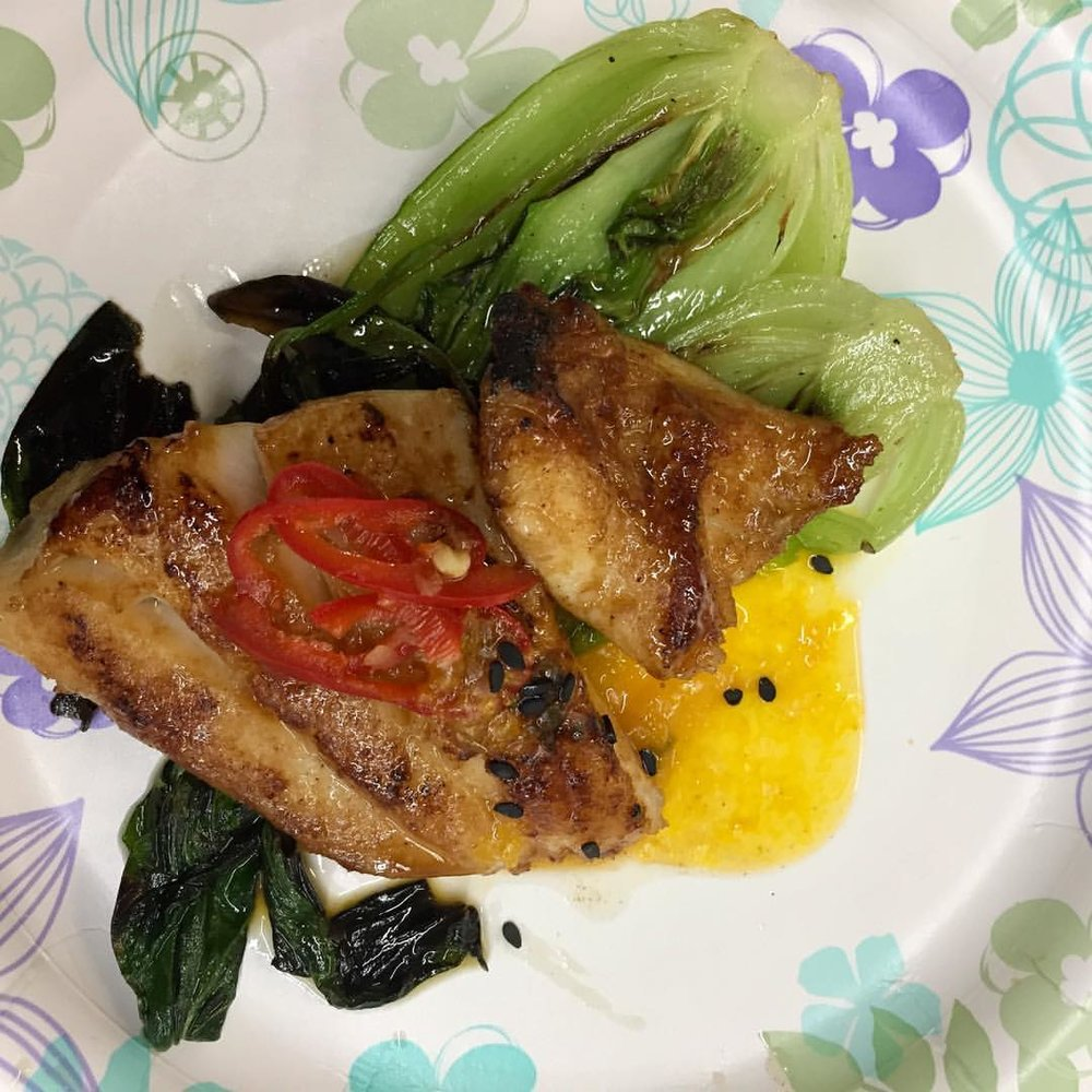 Miso Glazed Cabrillo with Pickled Fresno Chiles, Yuzu, Mandarin Compote, and Baby Bok Choy