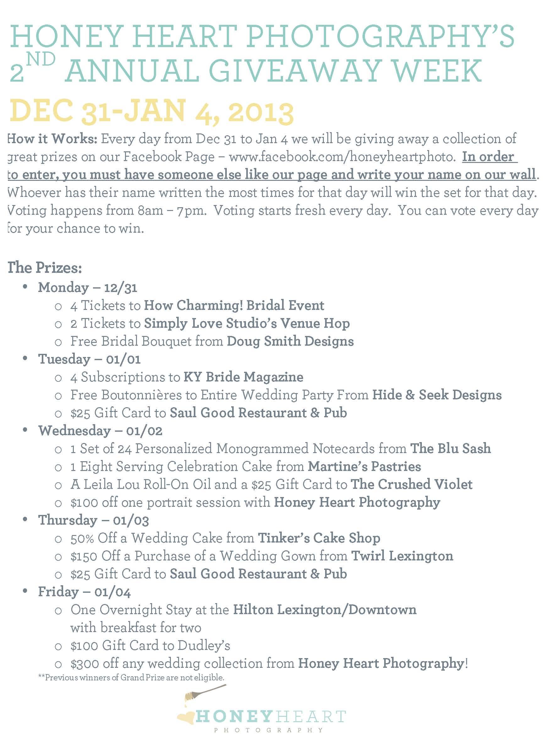 Giveaway Week 2013