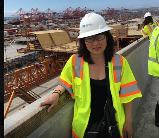 Cho visiting the Gerald Desmond Bridge replacement project in Long Beach, Calif.