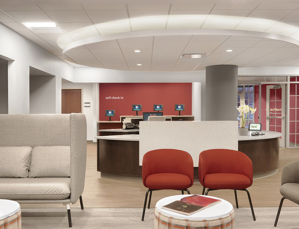The renovated Habif Health & Wellness Center at Washington University in St. Louis opened in December 2017.  Photo courtesy of BSA LifeStructures.