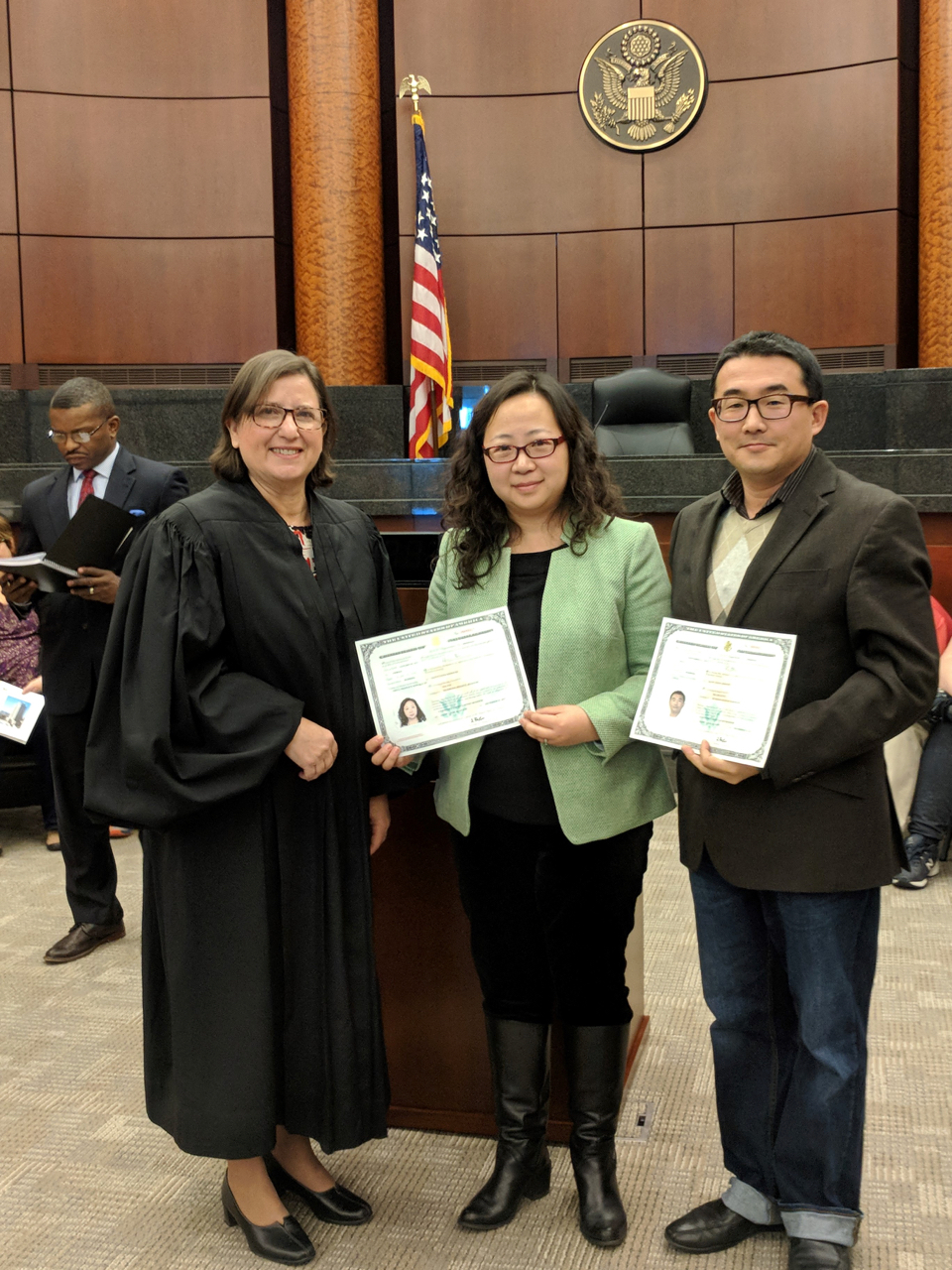 Yin Pan and her husband, Wei-Min Hung, became U.S. citizens in December 2017.