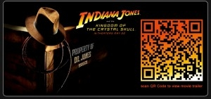 """Poster of """"Indiana Jones and the Kingdom Of The Crystal Skull"""" featuring a QR code inside a movie theater in Australia"""