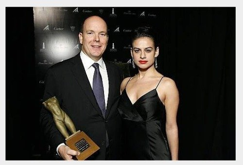 His Serene Highness  Prince Albert  of Monaco and actress  Elena Levon  at the Rodeo Drive Walk of Style Honoring Princess Grace and Cartier.