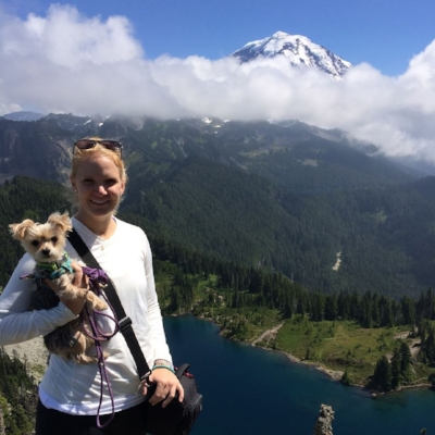 Me and my pup Roxy love to hike. This is us at Tolmie Peek at Mt. Rainier NP