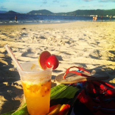 Enjoying a caipirinha on the beach