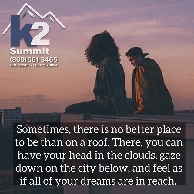 Sometimes, there is no better place to be than on a roof. There, you can have your head in the clouds, gaze down on the city below, and feel as if all of your dreams are in reach.  Enjoy your Saturday!  #k2summit #k2thesummit #roofing #roofinglife #construction #rooftop #roofer #contractor #remodeling #remodel #renovation #reroofing #constructionwork #roofconstruction #miami  #keywest #floridakeys #waterproofing #generalcontracting #contractors #repairs #quality #qualityroofing #industrialroofing #commercialroofing #rooftop #relax #dreams #weekend #saturday