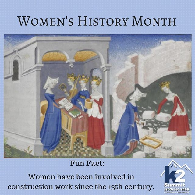 Did you know, there are records of women working in construction that date back as early as the 13th century? Happy Women's History Month.  #k2summit #k2thesummit #roofing #roofinglife #construction #rooftop #roofer #contractor #remodeling #remodel #renovation #reroofing #constructionwork #roofconstruction #waterproofing #waterproofingsystems #generalcontracting #industrialroofing #commercialroofing #history #women #womenshistory #womenhistorymonth #influentialwomen #girlpower #internationalwomen'sday #womensday #womeninconstruction #constructionwomen #constructionwoman #funfact