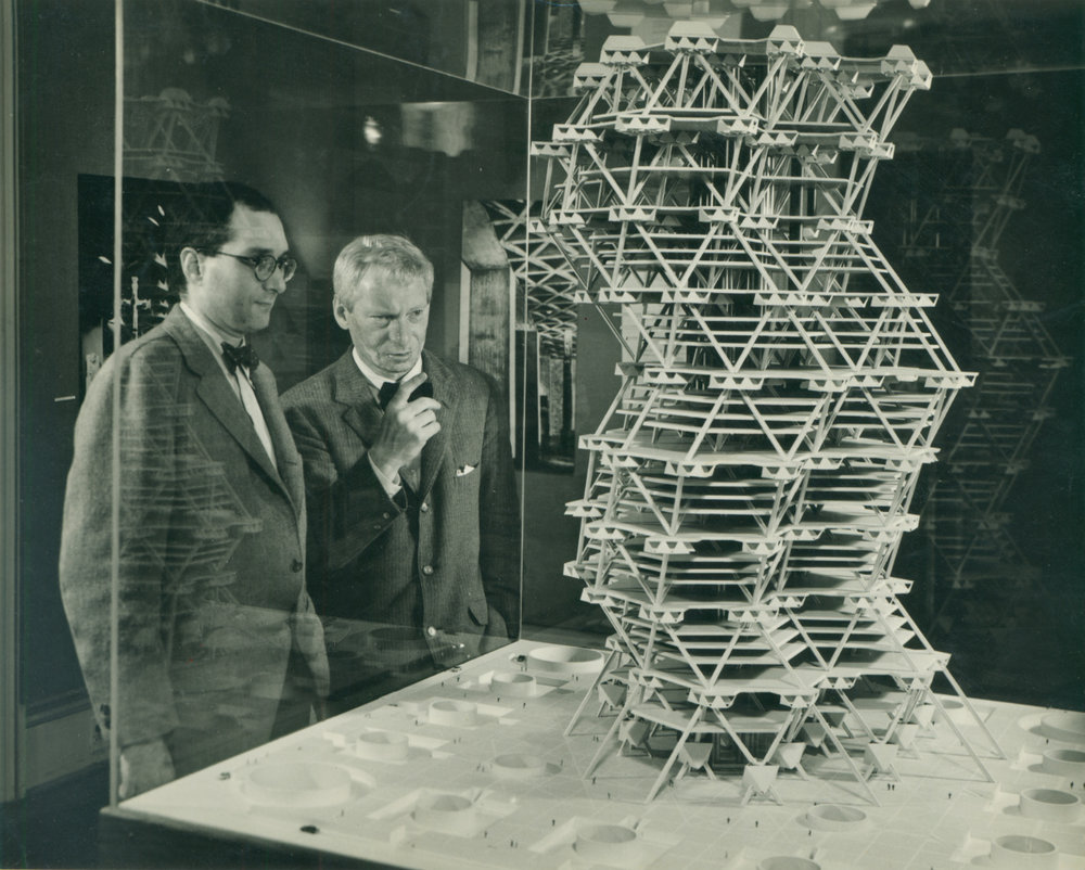 Louis Kahn and Jonas Salk with the model of the City Tower Project in an exhibition at Cornell University, 1958. Credit: Carlos Avendaño.