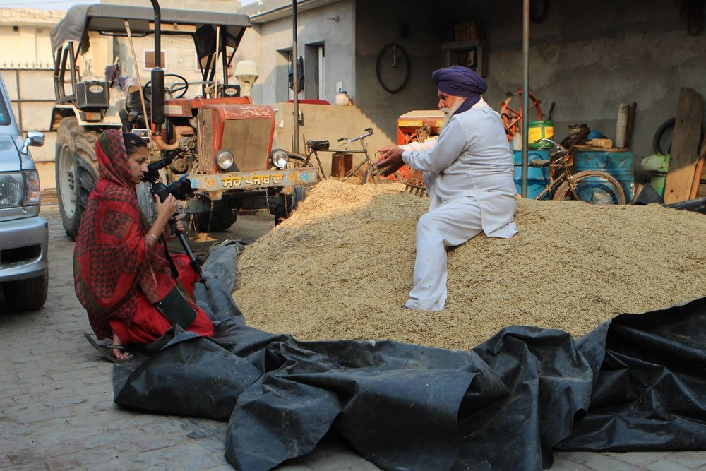 Rehmat filming in farmer Balbir Singh's house