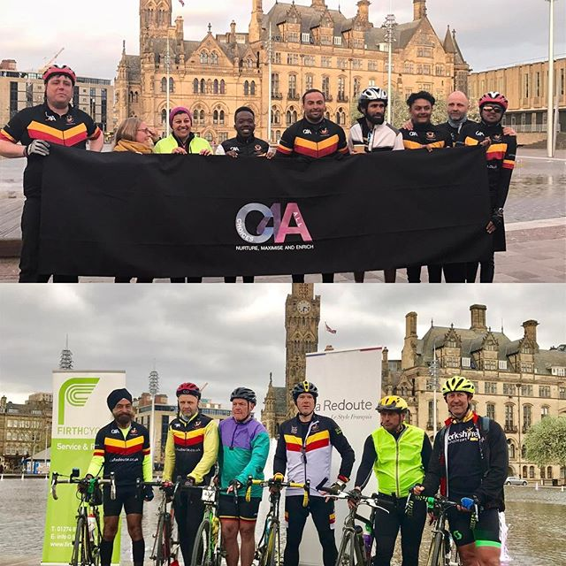 Bradford to Roubaix cyclists welcomed back today #achievement#cycling#charity#BCC💜