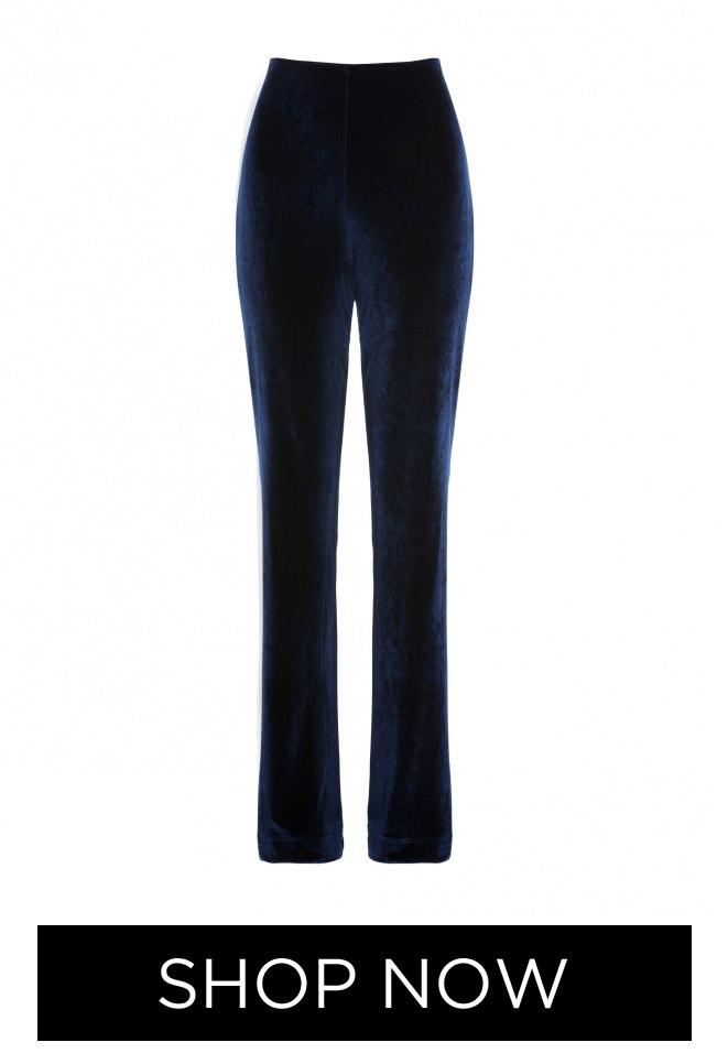 Calça Feminina de Veludo Reta, R$ 169,90