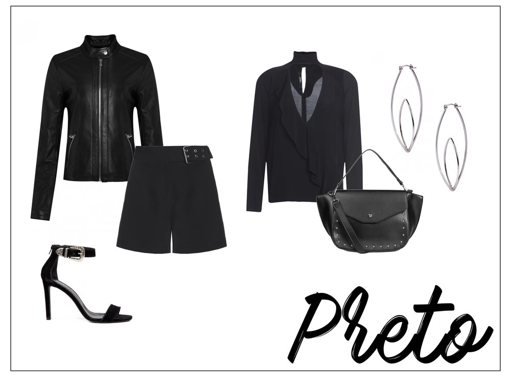 Look com roupas femininas pretas