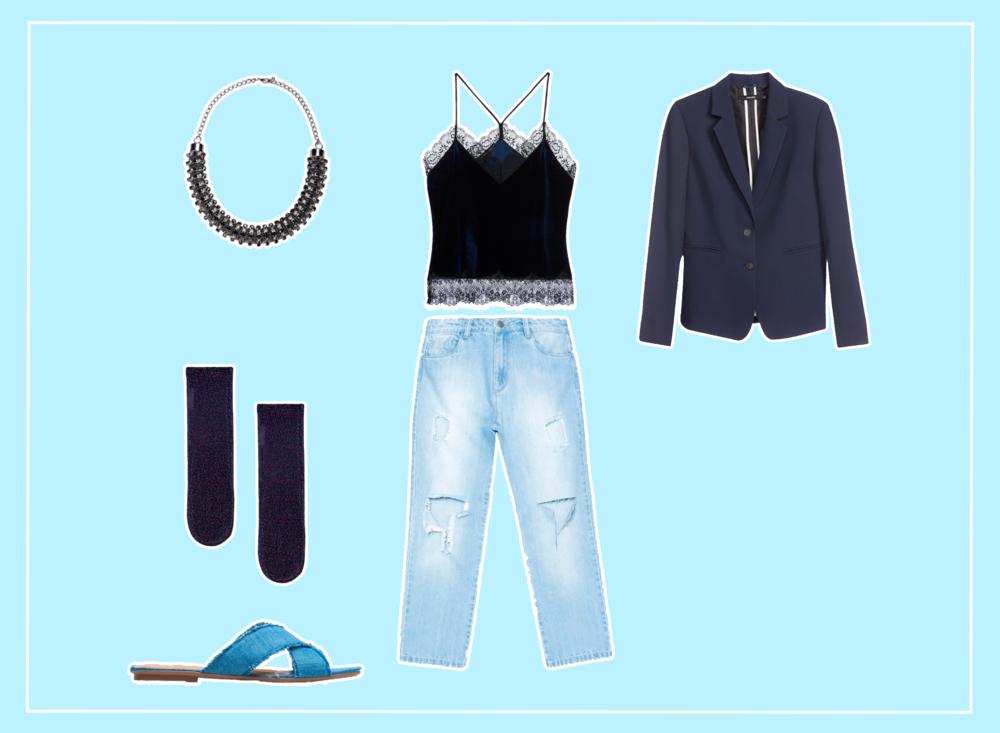 Look feminino monocromático com roupas azuis e em jeans