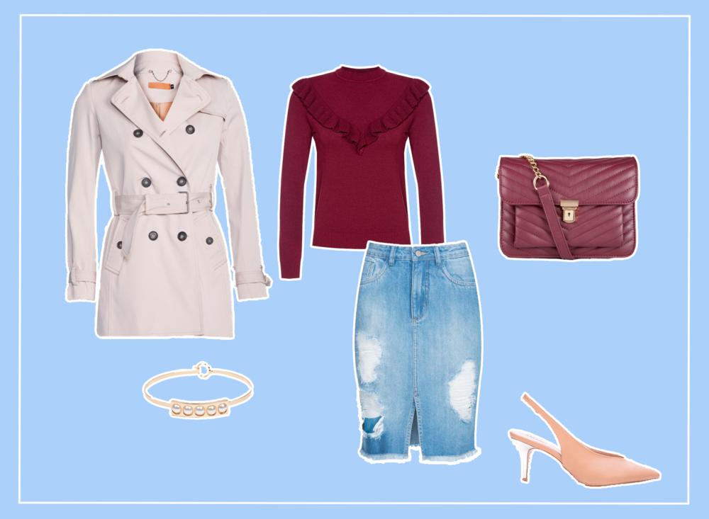 Look feminino elegante com saia jeans, tricot e trenchcoat.