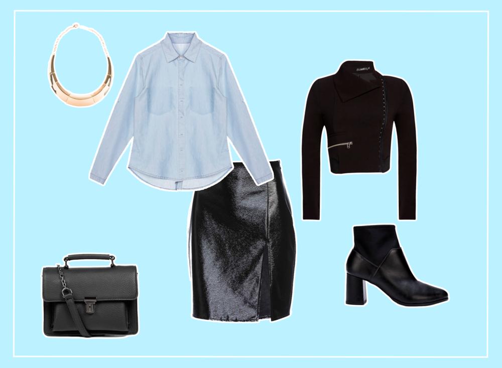 Look feminino ideal para festa ou balada com camisa jeans, saia de verniz e bota.