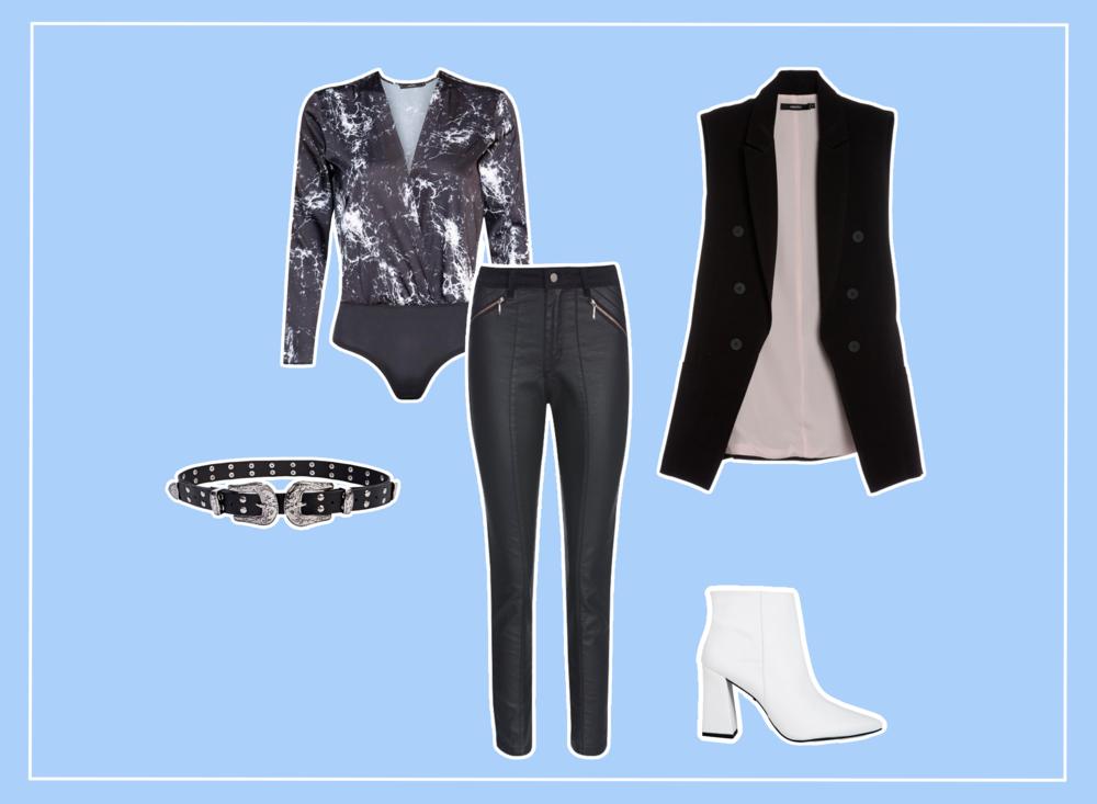 Look feminino preto e branco tendência, com calça jeans resinada e bota branca.