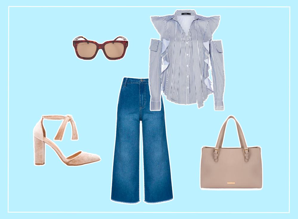 Look feminino estiloso com pantacourt jeans, salto de veludo, camisa desconstruída e óculos statement.