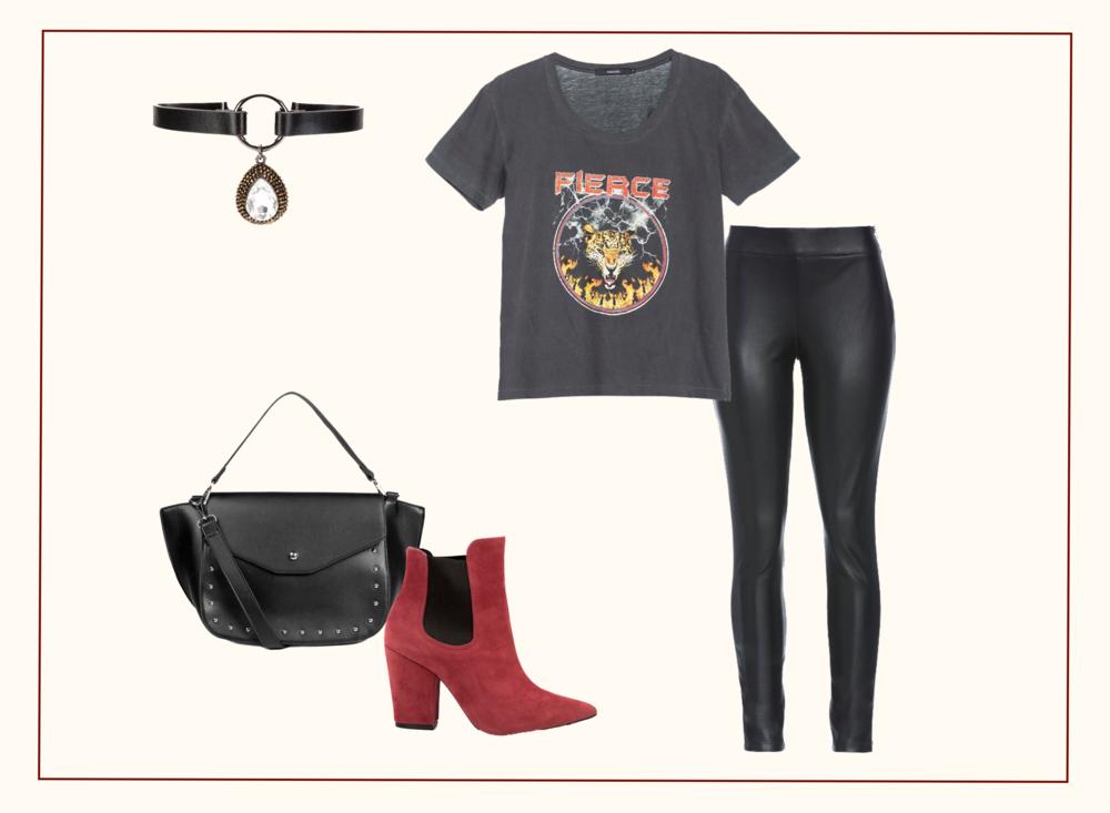 Look de festa feminino com roupas de estilo inspirado no rock