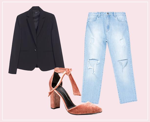 Look com calça boyfriend, blazer preto e sapato de veludo