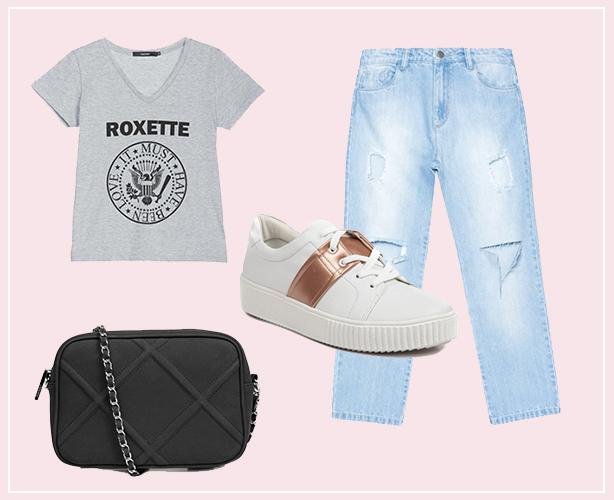 Look com calça boyfriend, tênis branco, camiseta e bolsa preta
