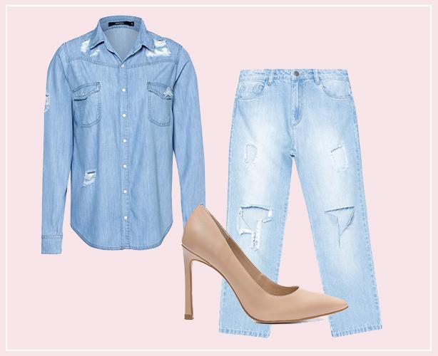 Look total jeans com scarpin nude