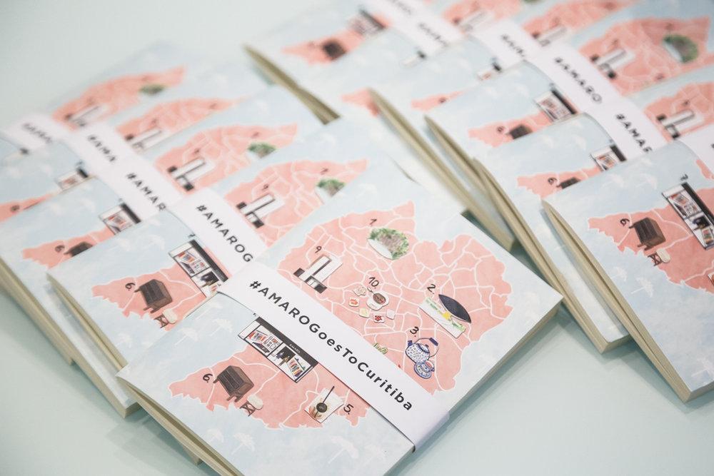Caderninhos com mapa de Curitiba personalizados por Thaíssa Esteves