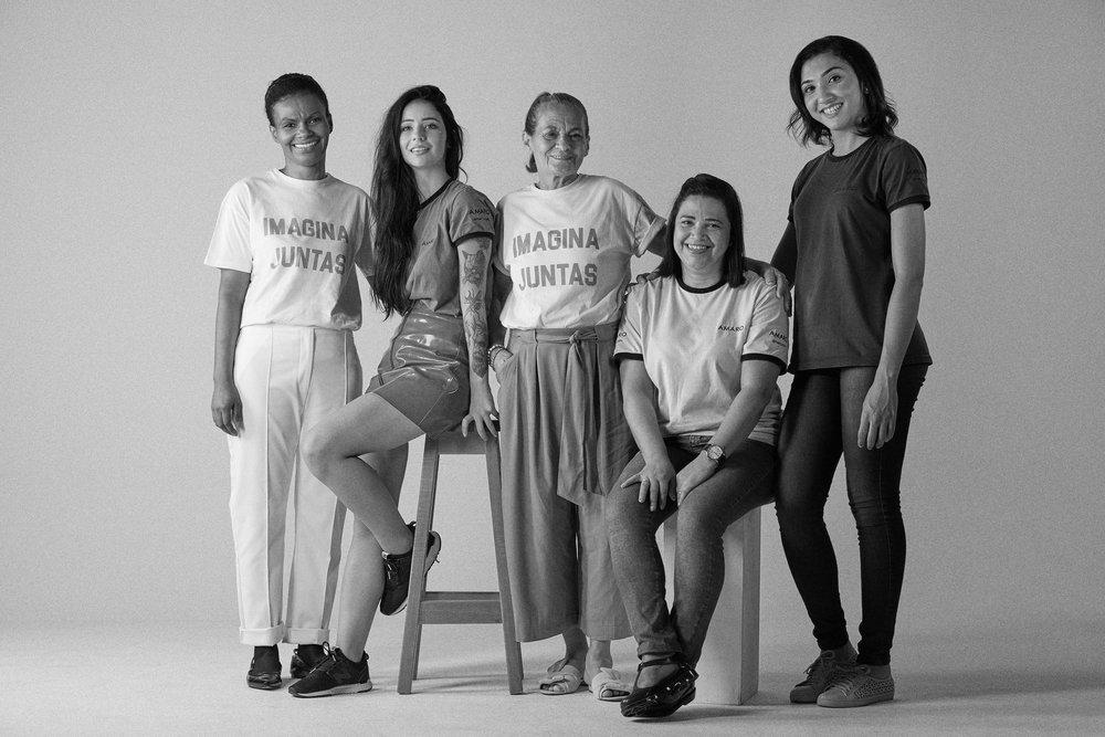 Da esquerda para a direita: Lauriete Fonseca, Amanda Morare, Joanildes de Souza, Marilene Conceição e Neusa Sousa.