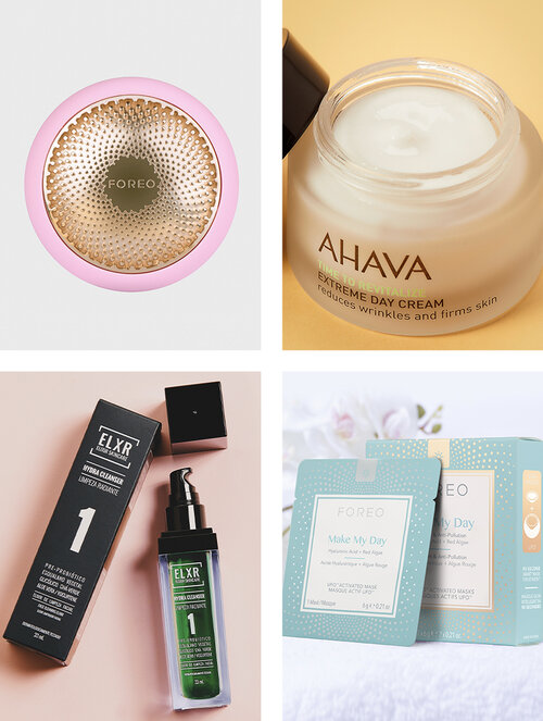 FOREO UFO ;  FOREO UFO MASK MAKE MY DAY ;  ELXR ELIXIR DE LIMPEZA FACIAL HYDRA CLEANSER ;  AHAVA EXTREME DAY CREAM REDUCES WRINKLES AND FIRM SKIN