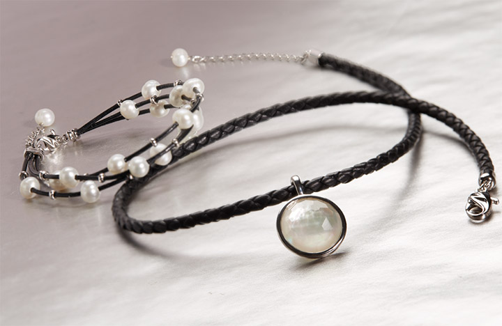 STUDIO Our Studio collection delivers 90s realness in the form of White Freshwater Pearls, black leather, and Sterling Silver. If you're classy, sassy, and a little smart assy, look no further.