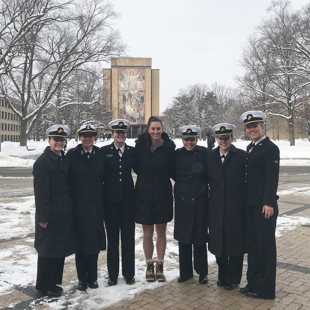 University of Notre Dame - February 2018 Taylor served as a guest speaker at the 23rd Annual Naval Leadership weekend. She was able to provide leadership guidance to over 250 midshipmen from various Universities throughout the United States. Additionally, Taylor hosted a women's only strength and conditioning session to train, equip and answer questions in regards to physical preparation for the military.