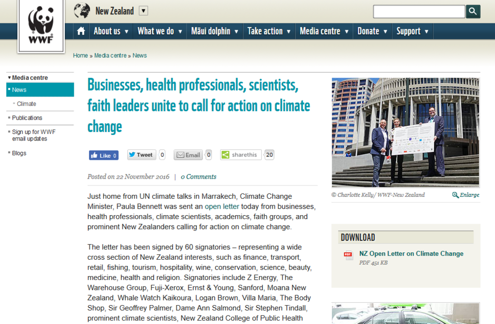 Businesses  health professionals  scientists  faith leaders unite to call for action on climate change   WWF New Zealand.png
