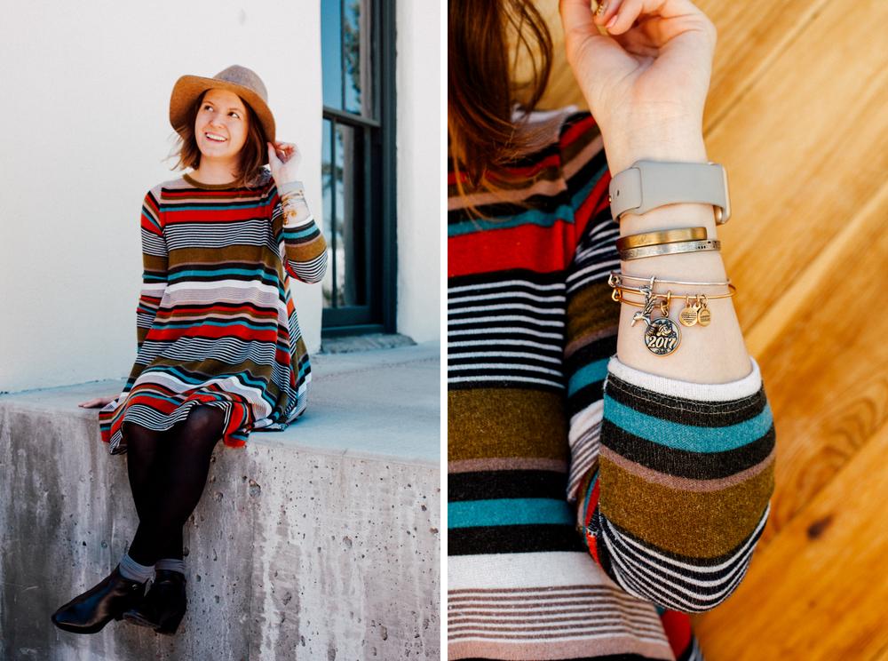Outfit Details: Dress | Boots | Brass Cuff | Silver Cuff | Disney Bangle | Hummingbird Bangle