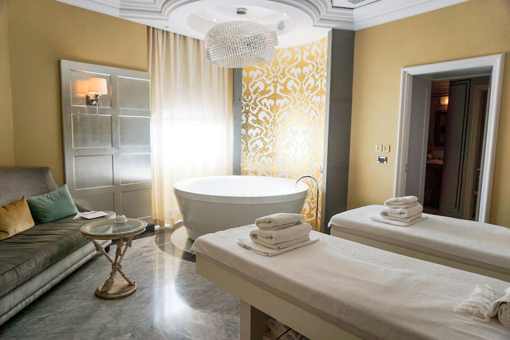 The Gold Treatment Room at the spa at The St. Regis Florence, Italy.