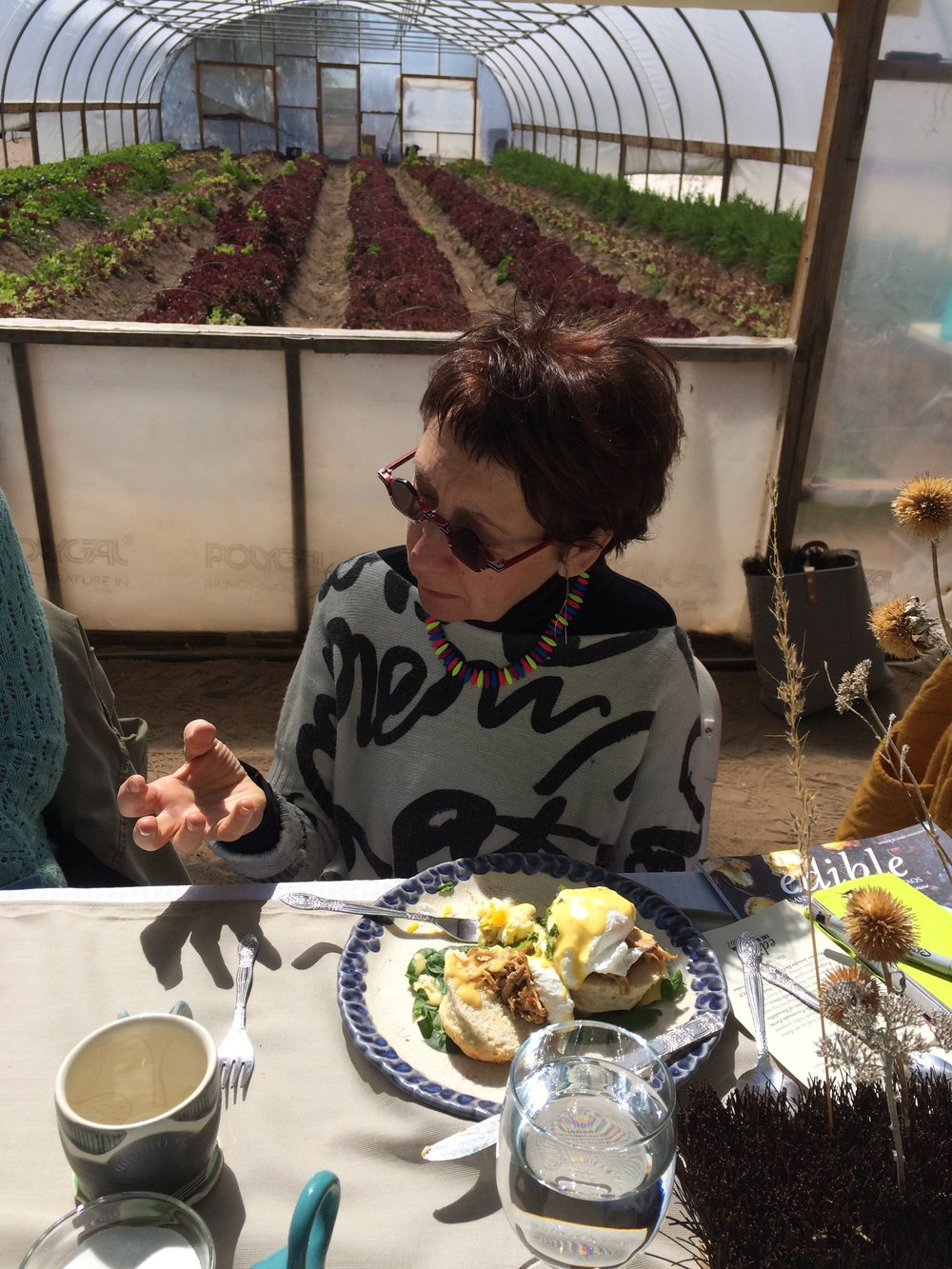 Gathered  for brunch at Valle Encantado Farm