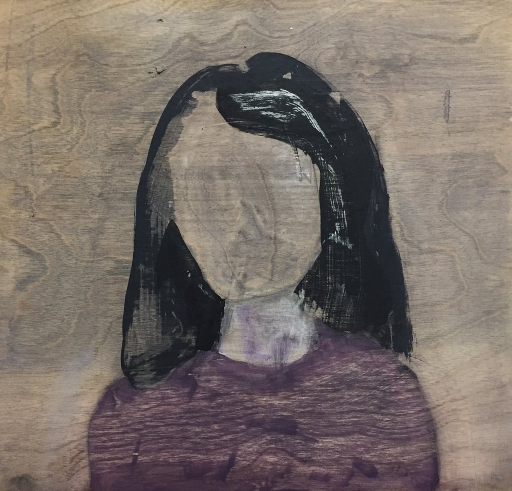 "Portrait study (woman wearing a purple sweater),  2014. Acrylic and graphite on wood panel. 12""x12"""