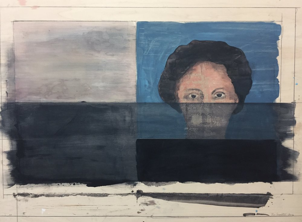 "Ancestor and plain c. 1877.  2016. Acrylic and graphite on wood panel. 35-1/2""x48"""
