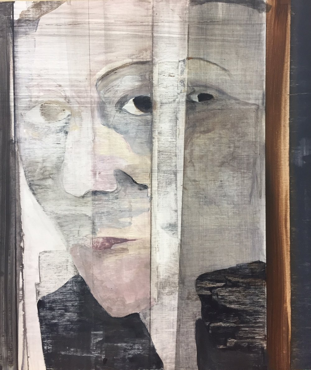 "Portrait study in mirror,  2016. Acrylic, acrylic polymer and graphite on wood panel. 21-1/8""x18-3/4"""