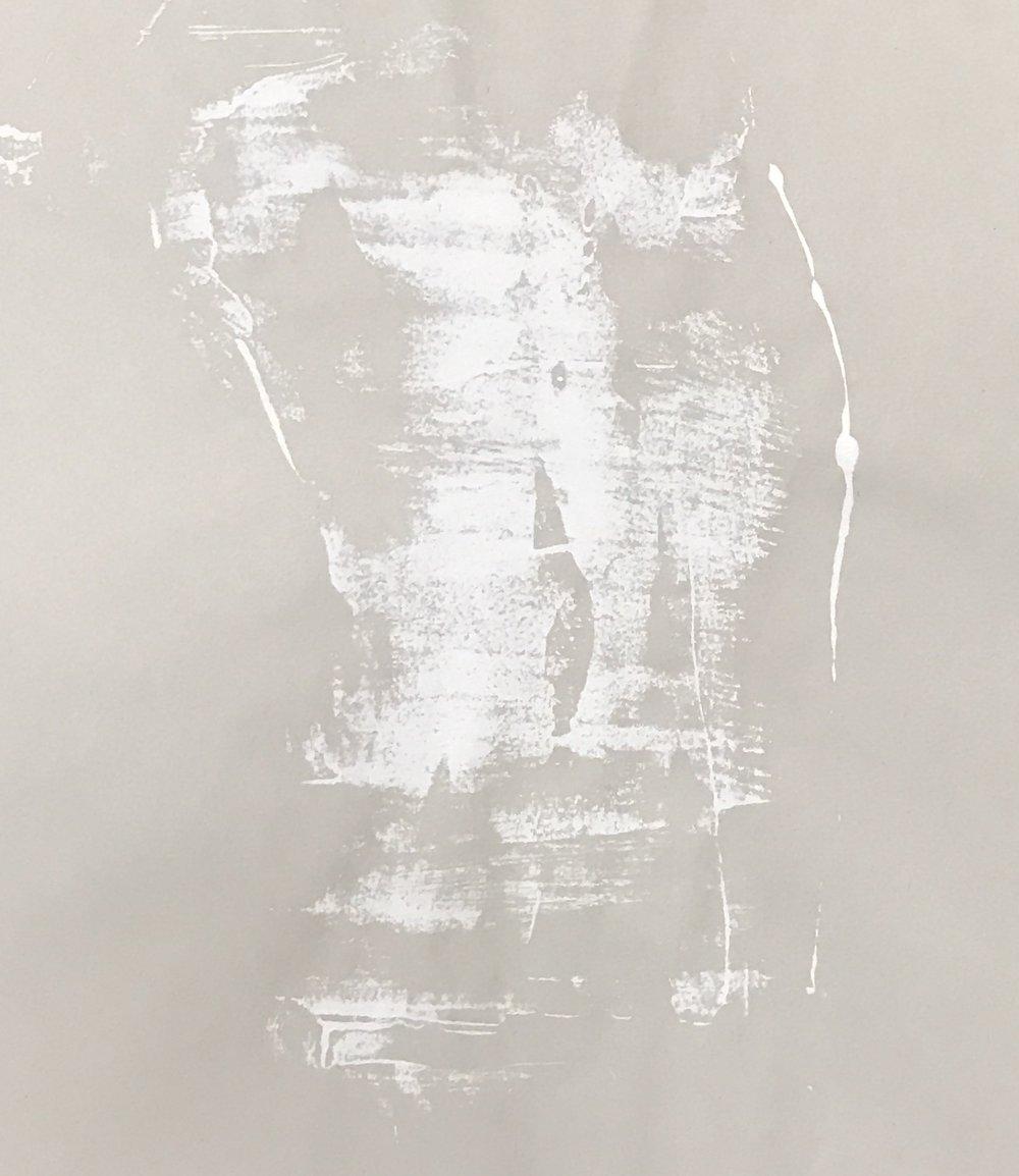 "Torso (study),  2016. Acrylic on paper. 17""x14"""