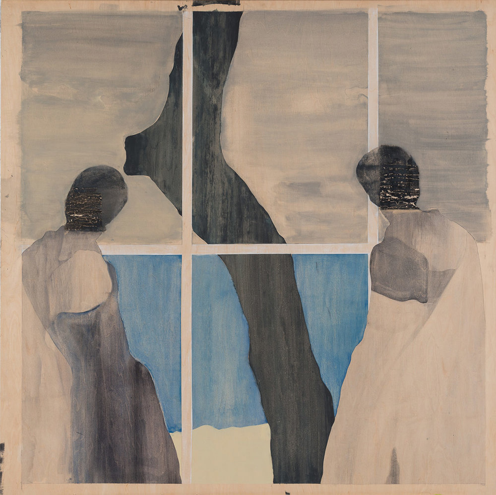 "Women by a window looking out,  2104. Acrylic, acrylic polymer and graphite on wood panel. 48""x48"""